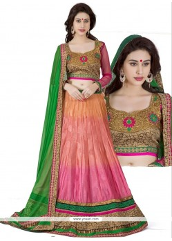 Pink And Peach Shaded Jacquard Silk Lehenga Choli