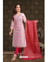 Fabulous Baby Pink Embroidered Designer Churidar Salwar Suit