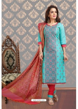 Fabulous Firozi Embroidered Designer Churidar Salwar Suit