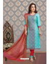 Fabulous Firozi Embroidered Designer Churidar Salwar Suit