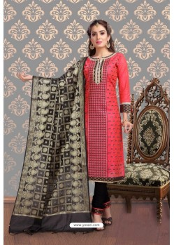 Fabulous Dark Peach Embroidered Designer Churidar Salwar Suit