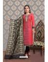 Fabulous Dark Peach Embroidered Designer Churidar Salwar Suit