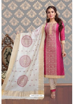 Fabulous Rose Red Embroidered Designer Churidar Salwar Suit