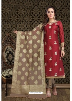 Fabulous Maroon Embroidered Designer Churidar Salwar Suit
