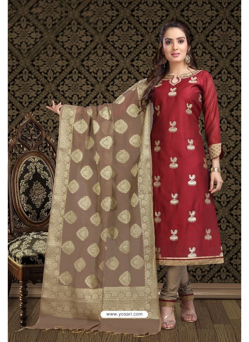 Fabulous Maroon Embroidered Designer Churidar Salwar Suit