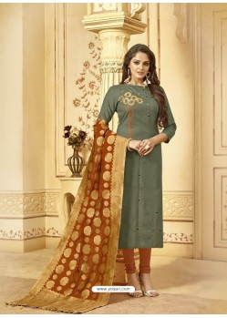 Scintillating Grey Embroidered Designer Churidar Salwar Suit
