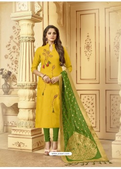Fabulous Yellow Embroidered Designer Churidar Salwar Suit