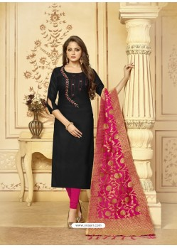 Scintillating Black Embroidered Designer Churidar Salwar Suit