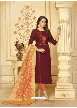 Scintillating Maroon Embroidered Designer Churidar Salwar Suit