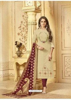 Scintillating Khaki Embroidered Designer Churidar Salwar Suit