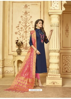 Scintillating Navy Blue Embroidered Designer Churidar Salwar Suit