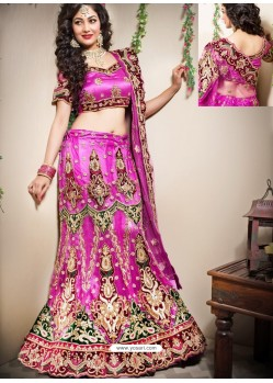 Scintillating Magenta Heavy Embroidered Bridal Lehenga Choli