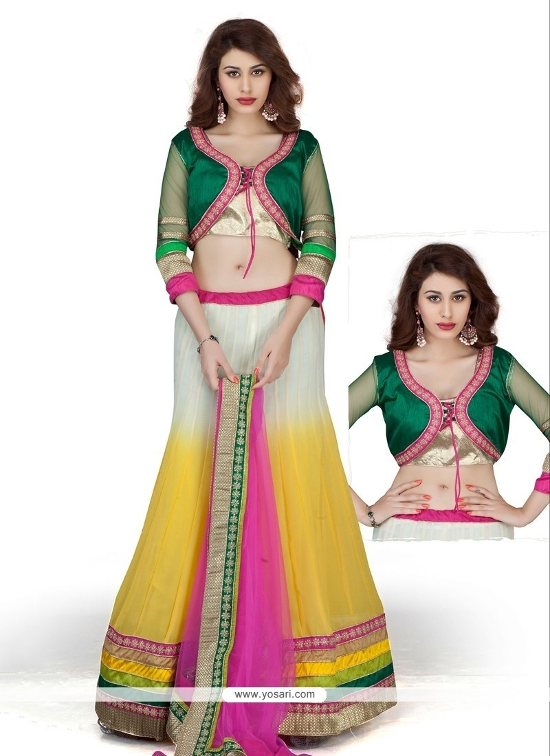 White And Yellow Georgette Lehenga Choli