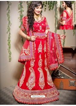 Scintillating Red Heavy Embroidered Bridal Lehenga Choli