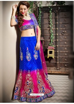 Scintillating Royal Blue Heavy Embroidered Bridal Lehenga Choli