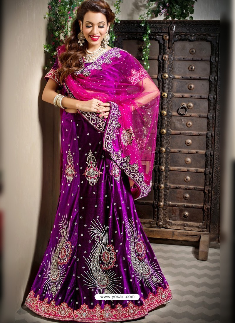 bab48851de Buy Scintillating Purple Heavy Embroidered Bridal Lehenga Choli ...
