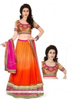 Refreshing Orange Net Designer Lehenga Choli
