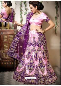 Scintillating Baby Pink Heavy Embroidered Bridal Lehenga Choli