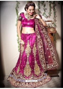 Scintillating Medium Violet Heavy Embroidered Bridal Lehenga Choli