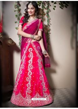 Scintillating Rose Red Heavy Embroidered Bridal Lehenga Choli