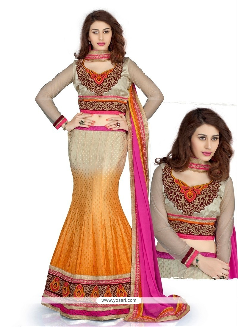 Cream And Orange Chinon Butti Lehenga Choli