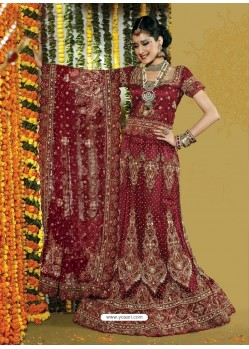 Fabulous Maroon Heavy Embroidered Bridal Lehenga Choli
