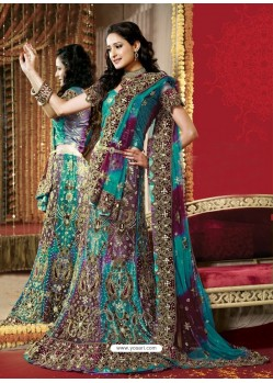 Fabulous Turquoise Heavy Embroidered Bridal Lehenga Choli