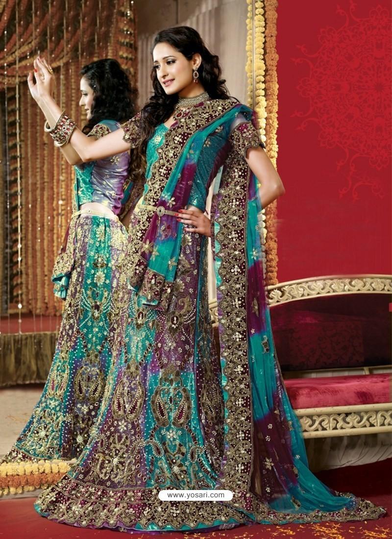 f1870d3442 Buy Fabulous Turquoise Heavy Embroidered Bridal Lehenga Choli ...