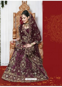 Fabulous Wine Heavy Embroidered Bridal Lehenga Choli