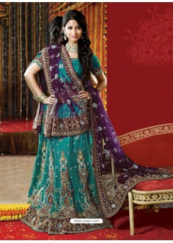 Fabulous Teal Heavy Embroidered Bridal Lehenga Choli