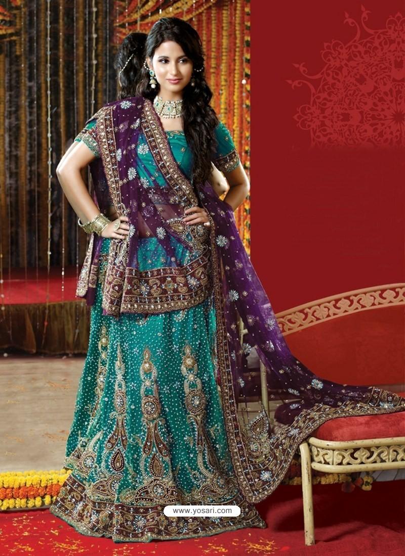a3d6cd9cd2 Buy Fabulous Teal Heavy Embroidered Bridal Lehenga Choli | Bridal ...