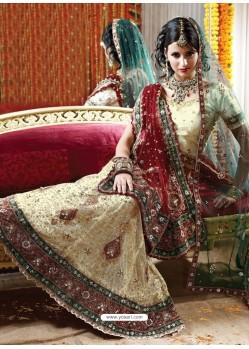 Fabulous Cream Heavy Embroidered Bridal Lehenga Choli