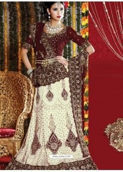 Fabulous Off White Heavy Embroidered Bridal Lehenga Choli