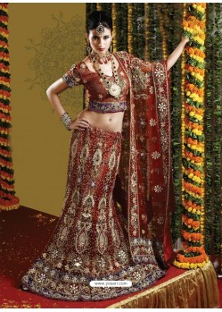 Fabulous Brown Heavy Embroidered Bridal Lehenga Choli