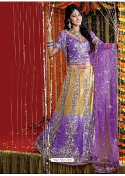 Fabulous Purple Heavy Embroidered Bridal Lehenga Choli
