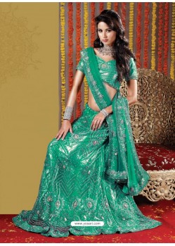 Fabulous Aqua Mint Heavy Embroidered Bridal Lehenga Choli