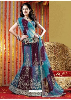 Fabulous Blue Heavy Embroidered Bridal Lehenga Choli