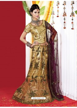 Fabulous Gold Heavy Embroidered Bridal Lehenga Choli