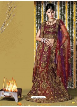 Fabulous Maroon Heavy Embroidered Bridal Lehenga Choli