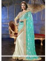 Turquoise Blue And White Net Classic Saree