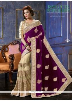 Cream And Violet Velvet Designer Saree