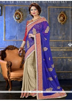 Stupendous Blue Border Work Party Wear Saree