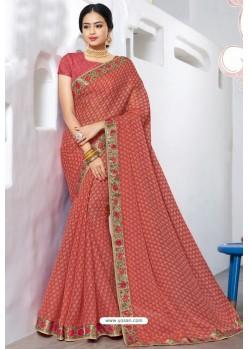 Trendy Peach Designer Printed Sari