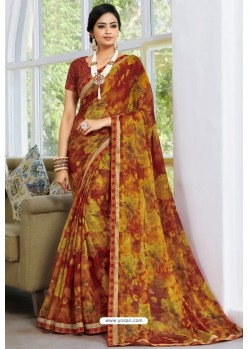 Trendy Multi Colour Designer Printed Sari