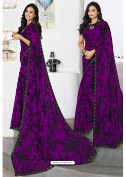 Trendy Purple Designer Printed Sari