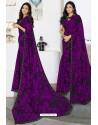 Trendy Purple Designer Printed Sari
