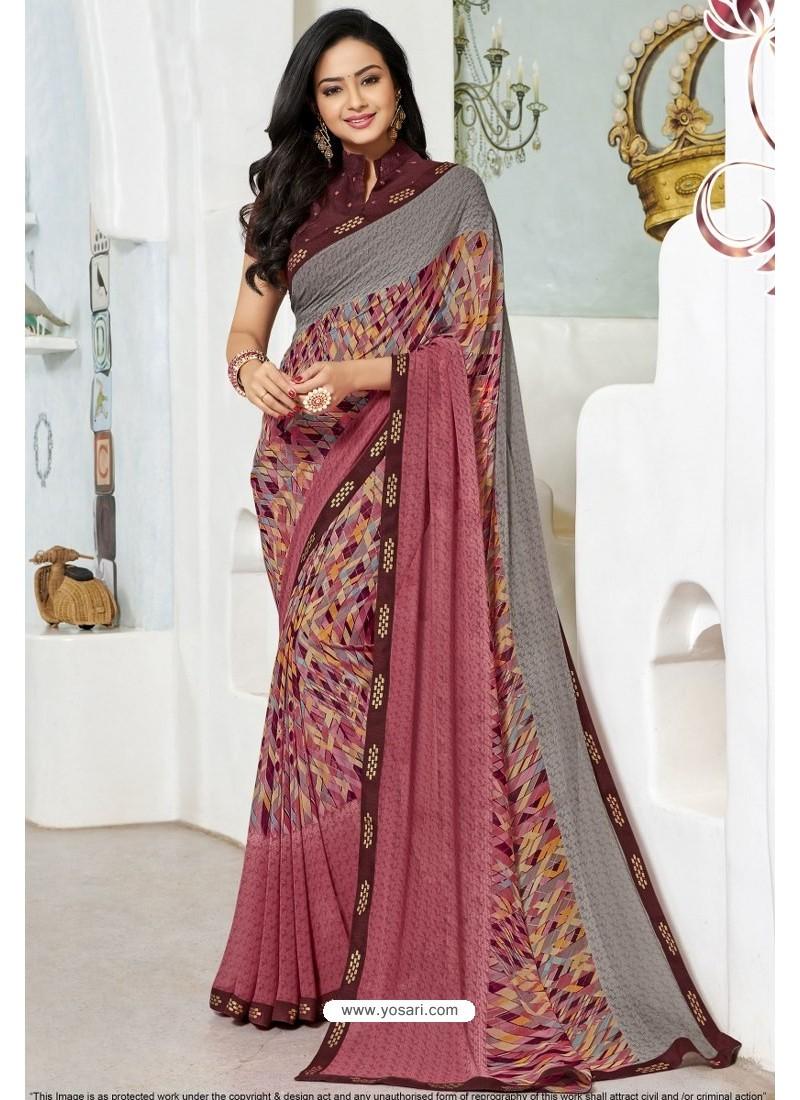 Trendy Pink Designer Printed Sari