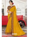 Trendy Yellow Designer Printed Sari