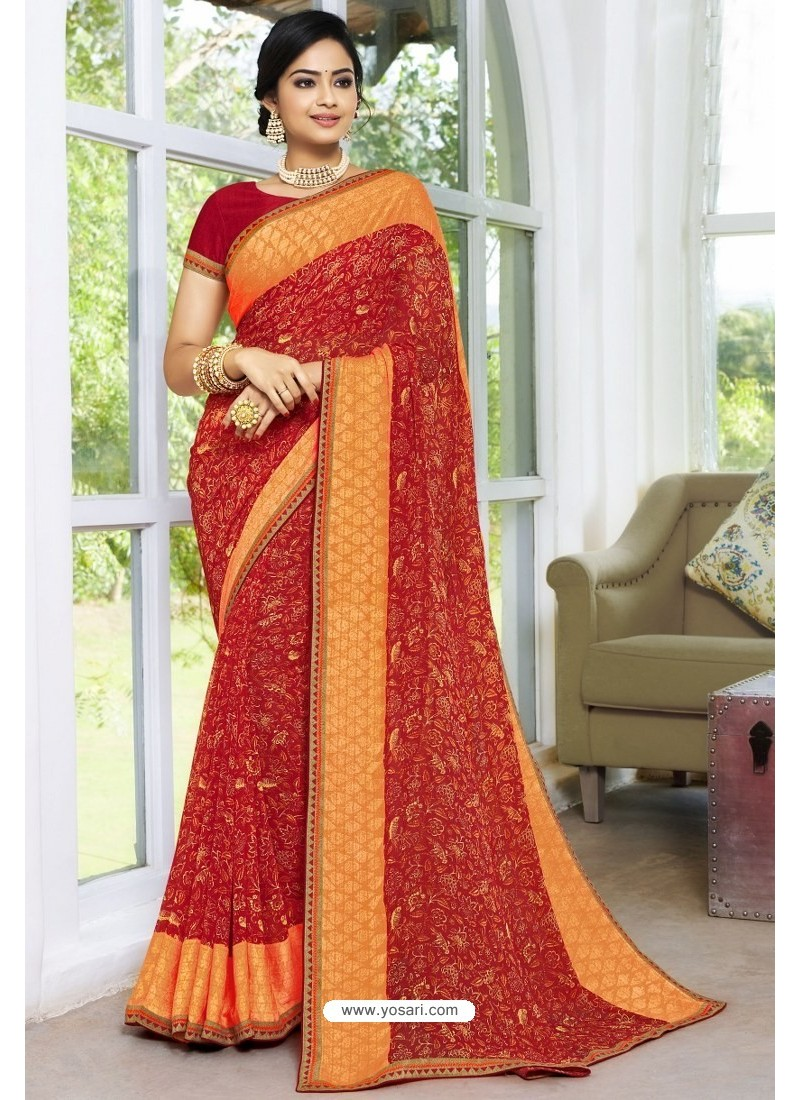 Trendy Red Designer Printed Sari