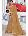 Trendy Beige Designer Printed Sari